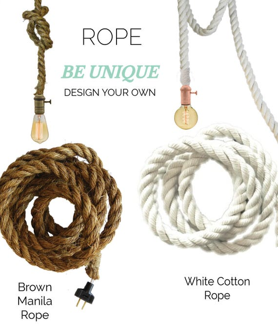 Rope Pendant Light White Cotton Modern Industrial Manila Rope