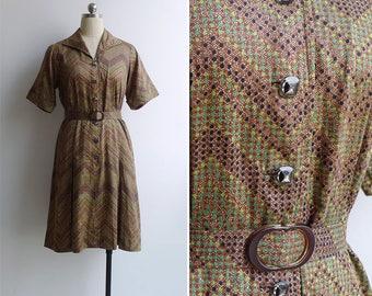 Vintage 80's Zig Zag Geometric Dot Print Cotton Shirt Dress M or L