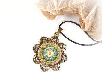 Positive energy mandala jewelry, new age necklace sacred geometry talisman, a pendant worn to calm the mind, sacred geometry meditation.