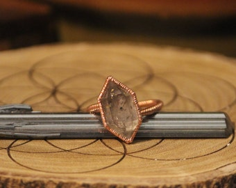 Quartz Copper Ring // Double Terminated Inclusion Quartz // Electroformed Copper Jewelry // Raw Crystal Ring