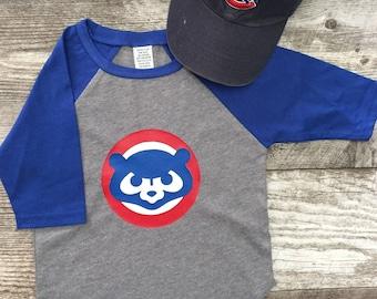 Boys Unisex Chicago Cubs Cubbies Bear Baseball T 3/4 Sleeve T Shirt Navy Blue Gray modern graphic trendy TSLM