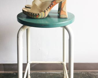 Vintage High Heels with Wooden Base