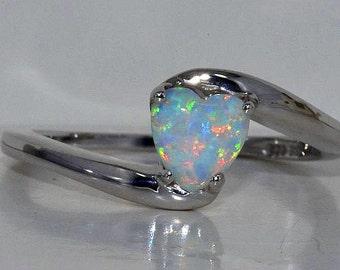 Beautiful Opal Heart Ring .925 Sterling Silver