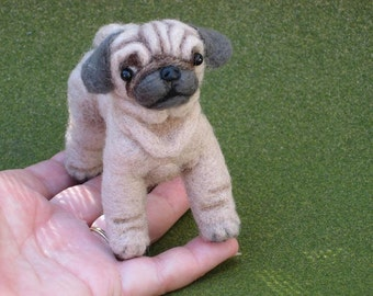 Needle Felted Dog / Custom Needle Felted Sculpture /  Your Dog in Miniature / Lifelike Poseable Ollie Pug /Toy Style