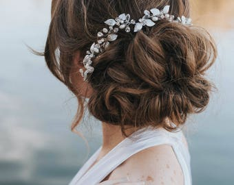 "Wedding Hair Accessories,  Bridal Hair Accessories, Bridal Headpiece ~ ""Ariana"" Leaf Wedding Hair Vine (Silver, Gold or Rose Gold)"