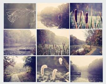 Set of 9 prints, home decor, fine art photographs, nature photography, lake photos, wall art, photo set, art collection, neutral colors