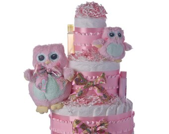 Two Owls Baby Diaper Cake by Lil' Baby Cakes