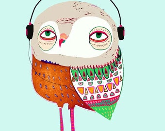 Owl with Headphones. limited edition owl print art for kids wall decor children's art