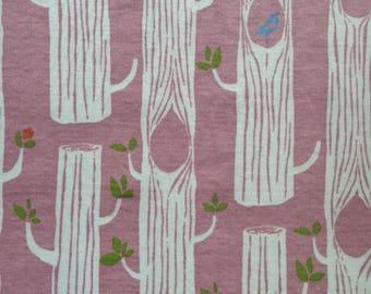 Tree Stripes Pink - Circa 52 Organic Cotton KNIT by Birch Fabrics 6006.24.00.00)