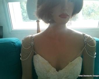 Shoulder Epaulettes Bridal Jewelry Rhinestones Shoulder Jewelry 1920 Inspiration Shoulders Piece Vintage style, OOAK