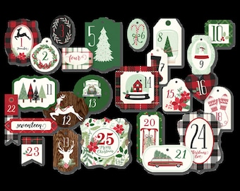 My Mind's Eye Comfort and Joy Advent Tags, Holiday Packaging, DIY Advent Calendar, Christmas Scrapbook and Paper Crafts