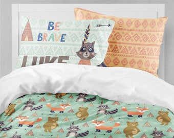 Boy Twin Bedding, Toddler Bedding, Fox, Bear, Raccoon, Woodland Nursery,  Tribal, Queen Duvet Cover, Comforter, Pillowcase Set, Toddler Bed