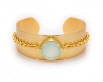 Chain + Gemstone Gold Statement Cuff - Adjustable / Malleable Bangle Cuff Bracelet - Natural Aqua Blue Chalcedony Gemstone