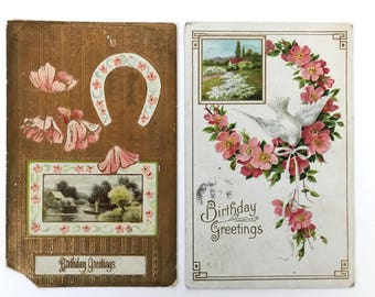2 Vintage Postcards//Birthday Greetings