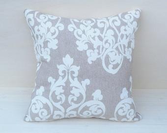 Damask white pillow, beige arabian pillow, beige pillow, chic handmade pillow cover