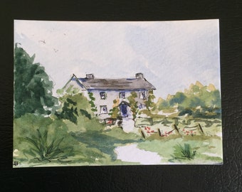 Landscape ORIGINAL Miniature Watercolour Cottage English Landscape ACEO  Watercolor painting For him For her Home decor Wall art Gift Idea