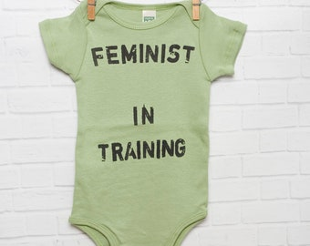 Feminist In Training Organic Cotton Baby Bodysuit *Misprinted* Infant  One Piece Avocado Green 3-6 month