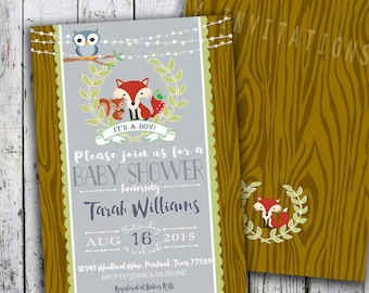 Woodland Baby Shower Invitations, Boy Woodlands Invite,  Printable Invite for Boy or Girl Birthday too