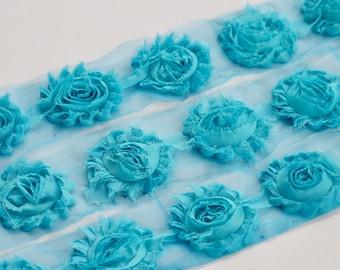 "2"" Turquoise Shabby Rose Trim, Shabby Chiffon Rosettes, Shabby Chic Flower Trim, Shabby Flower, Chiffon Flower by the Yard"
