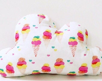 Girl Cloud Pillow | Cloud Cushion | Ice Cream Cloud Pillow | Nursery Decor | Baby Pillow | Room Decor |  Ice Cream Print Pillow