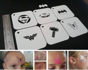 Kids Face Painting Set of 6pcs Small Size SUPERHERO Stencils Batman Superman Spiderman Wonder Woman Thor Kids Party Decoration