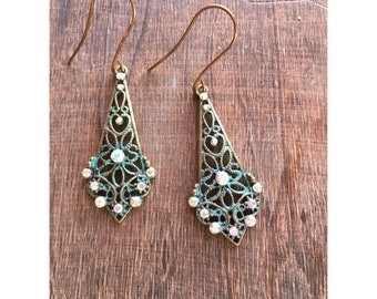 Teal Patina Rhinestone Earrings