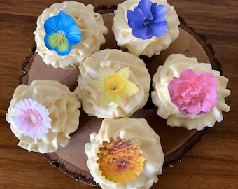 Edible Small Assorted Flowers Cake & Cupcake toppers - Food Decoration