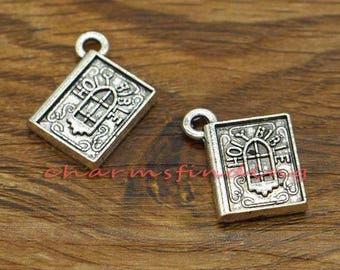 15pcs Holy Bible Charms Religion Charm Antique Silver Tone 16x19mm cf2616