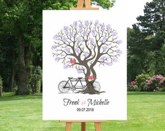 Guest Book Alternative | Large Canvas Art | Fingerprint Tree Guestbook | Custom Wedding Guestbook | Tandem Bicycle Print - 41677