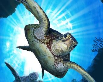 Key West, Florida - Sea Turtle Diving - Lantern Press Artwork (Art Print - Multiple Sizes Available)
