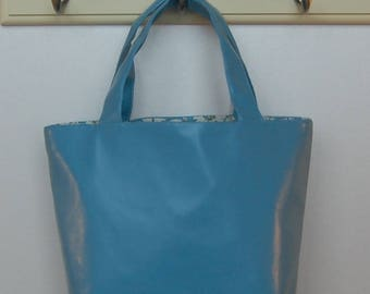 Gorgeous Handcrafted Faux Leather Pale Blue Tote Bag