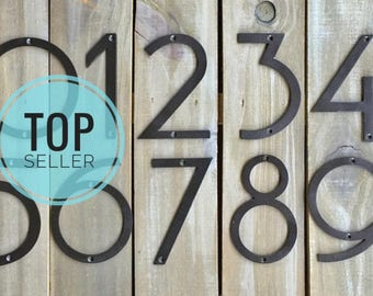 """Oversized Jumbo NUMBERS, Size 7"""" Stong STEEL Address House or Clock Numbers Modern Mid Century Font, Best Seller!"""