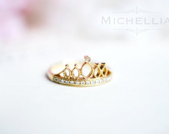 LAST ONE - Ready to Ship - Solid Gold Crown Ring - 14K Yellow Gold and Size 4.75