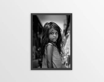 BLACK and WHITE PHOTOGRAPHY - Child Photo - Portrait of a Child - Black and White Poster - Printable Poster - Instant Digital Download