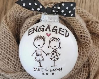 Engagement Gift, Personalized Engagement Ornament, Engaged Ornament, Engaged Couples Gift, Engagement Keepsake, Engagement Party Gift
