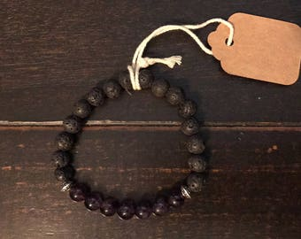 Amethyst and Lava Bead Essential Oil Diffuser Bracelet