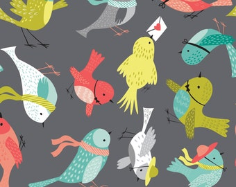 Camelot Fabrics, Its a Birds Life, Birdies in Iron Grey by Heather Rosas, yard