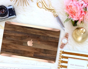 Macbook Pro 13 Case Macbook Air Case Laptop Case Macbook Case . Dark Untreated Wood with Rose Gold Chrome . Hard Case