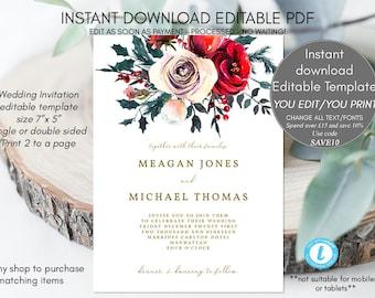 christmas wedding invitation printable, christmas invitation template, winter wedding invitations rustic, holly wedding invite, templett,7x5