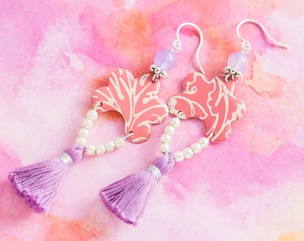 Pink and Purple Tassel Earrings with Vintage Tin and Reclaimed Pearlescent Beads, Tassel Jewelry, Bohemian Earrings