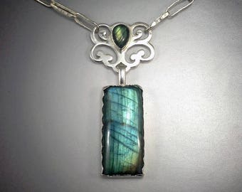 Elegant Labradorite and Sterling Silver Necklace With Hammered Handmade Argentium Chain