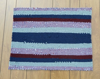 Navy Blue, Gray, Maroon, Purple Rectangular twined striped rag rug