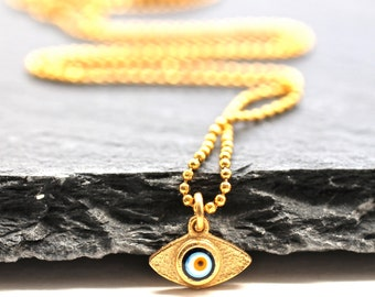 Evil Eye Necklace , Delicate Gold Necklace , Mini Necklace , Amy Fine Design