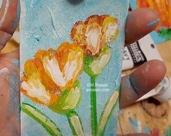 Floral Painting, Garden, Flower Garden, Original Painting, Tulips, Flower Painting, Winjimir, Art Card, ACEO, Miniature Painting, Gift,