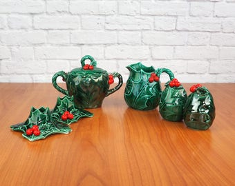 LEFTON Holly Leaf Christmas Hostess Set   Cream and Sugar, Salt and Pepper Shakers, Candlestick Holders