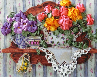 Roses and Tea silk ribbon 3d dimensional flowers embroidery DIY kit wall hanging artwork craft set