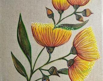 Yellow Eucalyptus Blossom - Painted Canvas