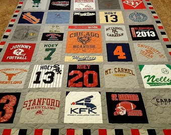 Tshirt quilt. Memory keepsake t-shirt quilts made from 9 to 49 tee shirt...College t shirt quilt. DEPOSIT ONLY!!!