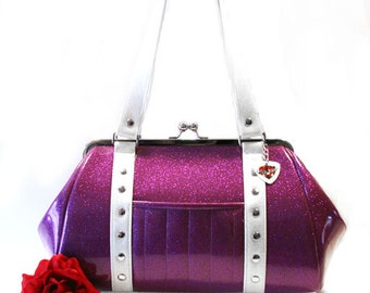 Purple Sparkle Purse - Vinyl Handbag - Violet Purse - Rockabilly Bag - Pin Up Purse - MADE TO ORDER