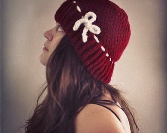 Knit Oxblood Hat Cloche Cap Burgundy Red Wine Lady Mary Crawley Downton Abbey Women's Fashion Accessories